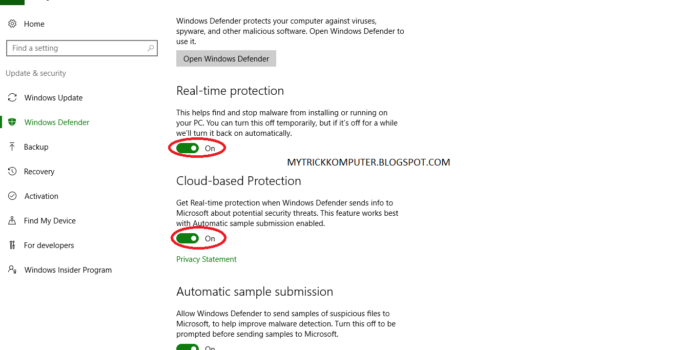 Mematikan Sementara Windows Defender Windows 10